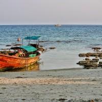 Long boat sunset