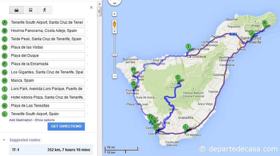 Harta obiective de vizitat Tenerife